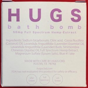 HUGS Broad Spectrum CBD Bath Bomb 5oz 50MG