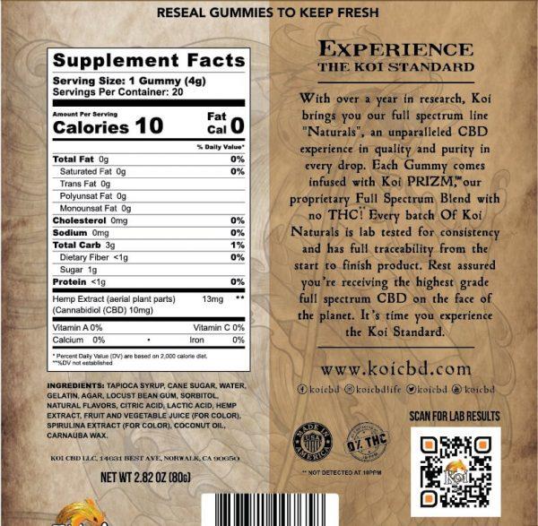 Koi Full Spectrum Hemp Extract CBD Tropical Fruit Soft Gummies