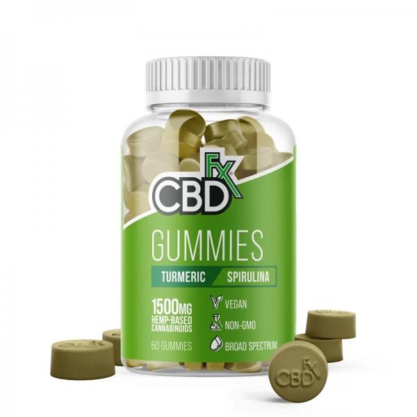 CBDfx Broad Spectrum CBD Gummies with Turmeric and Spirulina