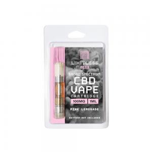 Limitless Broad Spectrum CBD Pink Lemonade Vape Cartridge 1mL