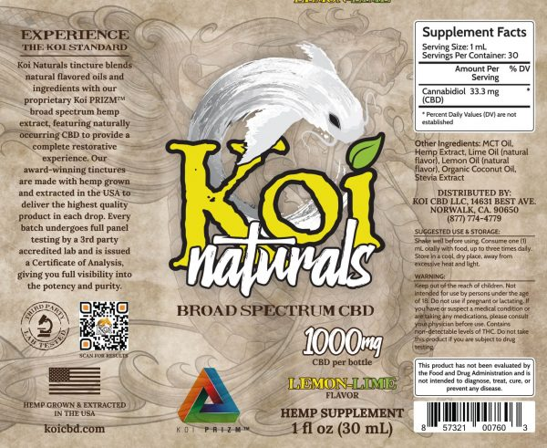Koi Naturals Lemon Lime Full Spectrum Hemp Extract CBD Oil Tincture 30mL