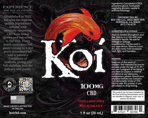 Koi Strawberry Milkshake Hemp Extract CBD Vape Liquid 30mL
