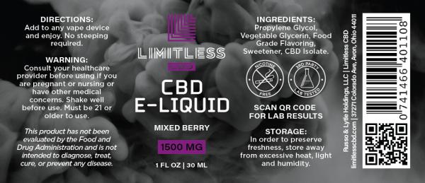 Limitless CBD Mixed Berry Vape Oil 30mL